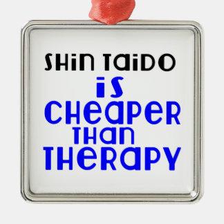 Shin Taido Is Cheaper  Than Therapy Silver-Colored Square Decoration