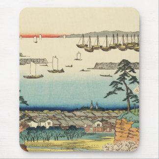 Shinagawa, Japan: Vintage Woodblock Print Mouse Pad