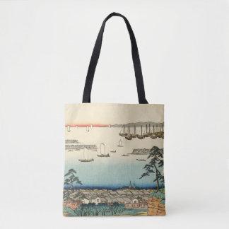 Shinagawa, Japan: Vintage Woodblock Print Tote Bag