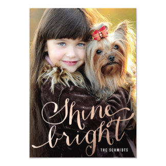 Shine Bright Faux Rose Gold Holiday Photo Card