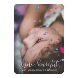 Shine Bright Silver Typography with Hanukkah Photo 13 Cm X 18 Cm Invitation Card