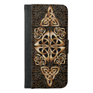 Shine Celtic Knot pattern on Black iPhone 6/6s Plus Wallet Case