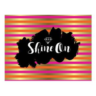 Shine On Pink, Pink & Faux Gold Metallic Stripe Postcard