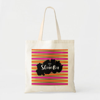 Shine On Pink, Pink & Faux Gold Metallic Stripe Tote Bag
