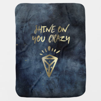 Shine On You Crazy Diamond Quote Gold Typography Baby Blanket