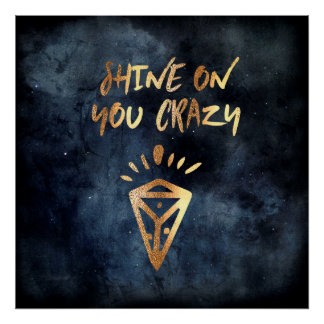 Shine On You Crazy Diamond Quote Typography Poster