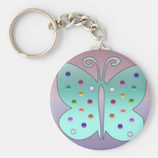 Shiney Butterfly Basic Round Button Key Ring