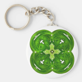 Shiney Fractal Art Four Leaf Clover Basic Round Button Key Ring