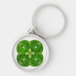 Shiney Fractal Art Four Leaf Clover Silver-Colored Round Key Ring