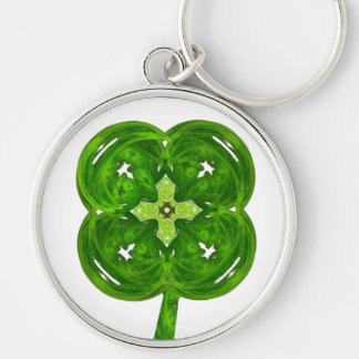 Shiney Fractal Art Four Leaf Clover with Stem Silver-Colored Round Key Ring