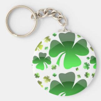 Shiney Shamrocks Basic Round Button Key Ring