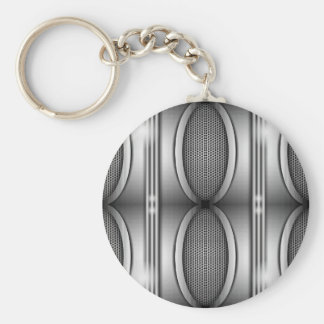SHINEY SILVER SPEAKERS BASIC ROUND BUTTON KEY RING