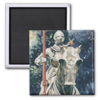 """Shining Armor"" Knight Watercolor Square Magnet"
