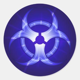 Shining Blue Biohazard Symbol Sticker