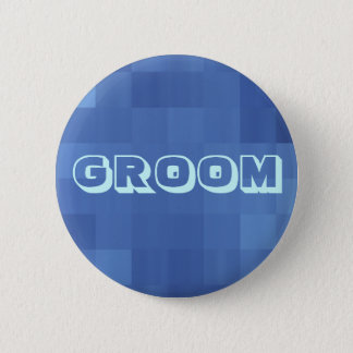 shining blue squares 6 cm round badge