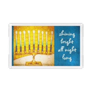 """""""Shining bright"""" quote gold Hanukkah menorah photo Acrylic Tray"""