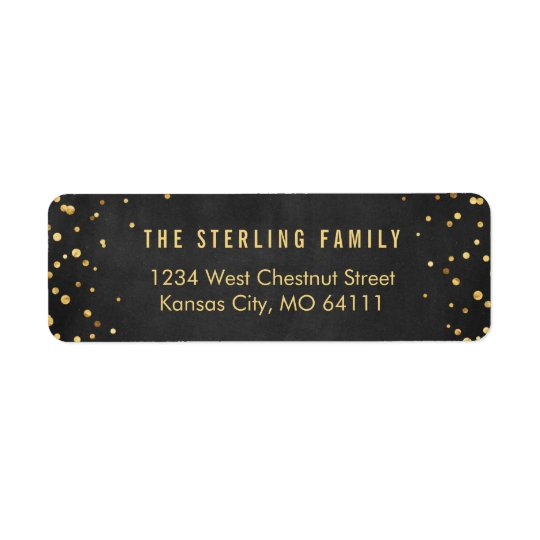 Shining Gold Dots Chic Black Return Address Label