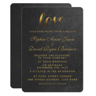 Shining Gold Foil Love Black Wedding Invite