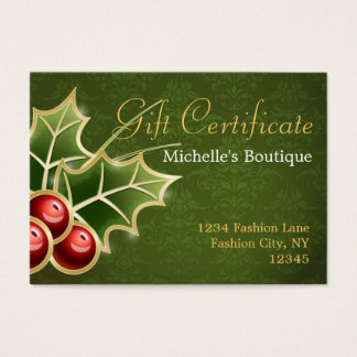 Shining Holly Berry Christmas Gift Certificate
