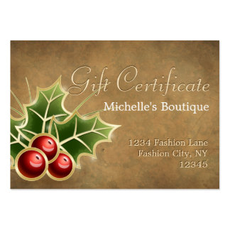 Shining Holly Berry Christmas Gift Certificate Pack Of Chubby Business Cards