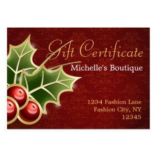 Shining Holly Berry Christmas Gift Certificate Business Cards