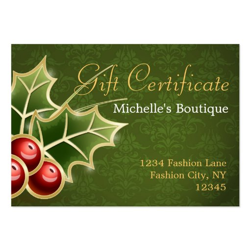 Shining Holly Berry Christmas Gift Certificate Business Card