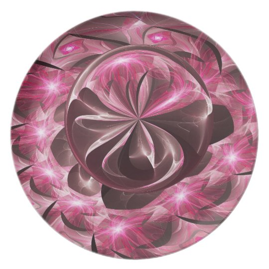 Shining In Pink Orb Melamine Plate