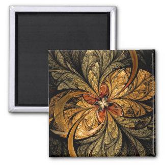 Shining Leaves Fractal Art Square Magnet