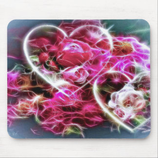 shining pink love hearts and flowers mouse pad