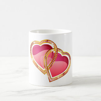shining pink love hearts coffee mug