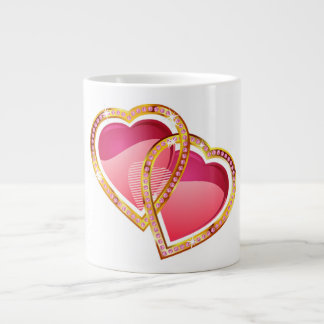 shining pink love hearts large coffee mug