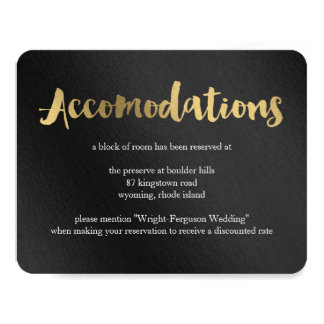 Shining Promise Wedding Accomodations Card