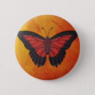 Shining Red Charaxes Butterfly 6 Cm Round Badge