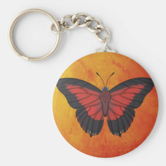 Shining Red Charaxes Butterfly Key Ring