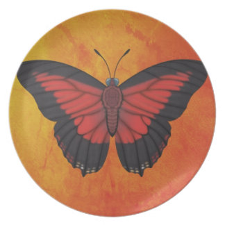 Shining Red Charaxes Butterfly Plate