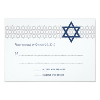 Shining Star Bar Mitzvah Blue RSVP Card
