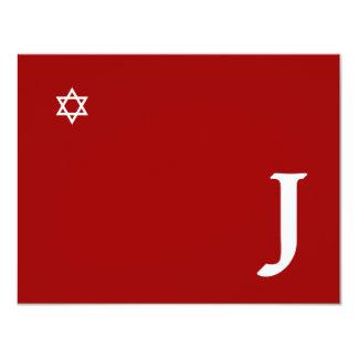 Shining Star Bar Mitzvah Monogram RSVP Card 11 Cm X 14 Cm Invitation Card