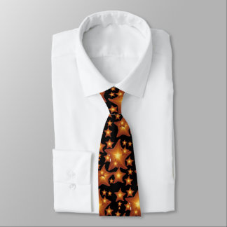 Shining Starfish bright orange design Tie