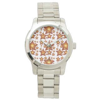 Shining Starfish - monogram orange design Watch