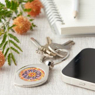 Shining Through Mixed Media Mosaic Silver-Colored Swirl Key Ring