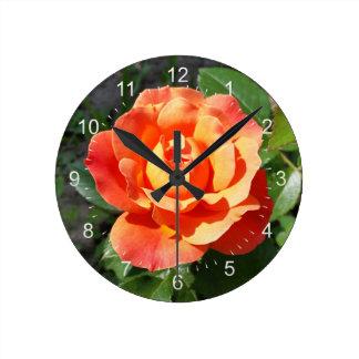 shining yellow rose round clock