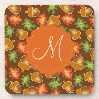 Shiny autumn atmosphere with acorns and oak leaf coaster