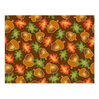Shiny autumn atmosphere with acorns and oak leaf postcard
