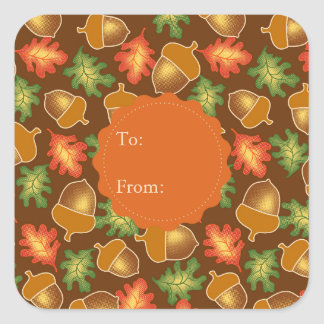 Shiny autumn atmosphere with acorns and oak leaf square sticker