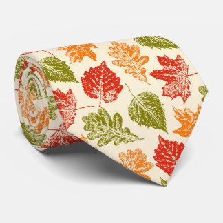 Shiny autumn atmosphere with fall leaves tie