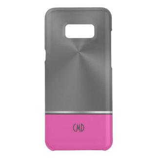Shiny Black Faux Steel Magenta Accent & Monogram Uncommon Samsung Galaxy S8 Plus Case