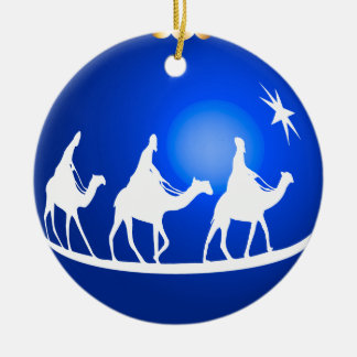 shiny blue 3 kings ornament