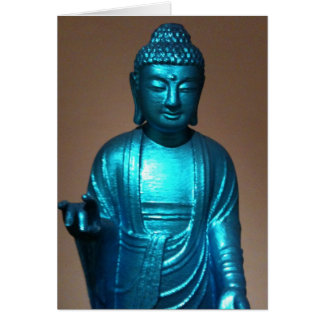 Shiny Blue Buddha Card