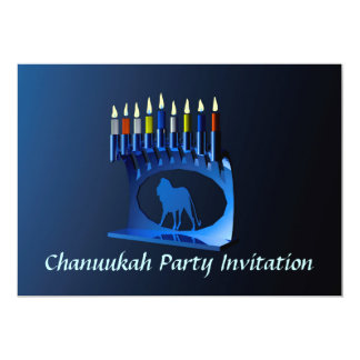 Shiny Blue Chanukkah Menorah 13 Cm X 18 Cm Invitation Card