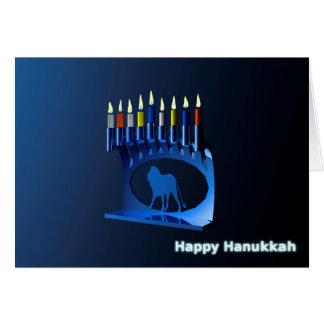 Shiny Blue Chanukkah Menorah Greeting Card